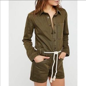 Free People denim out in thunder utility romper